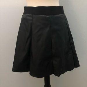 Black Pleather Mini Skirt L Faux Leather